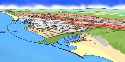 Køge Havn i fremtiden set fra nordøst