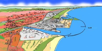 Køge Havn i fremtiden set fra sydøst